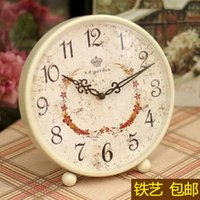 Wholesale Antique Table Wrought - Wholesale-Large living room European-style table clock creative fashion watches pastoral retro table clock wrought iron bell sat silent cl