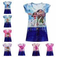 Wholesale Chinese Silk Velvet - Moana Baby Girls Dresses 2017 New Trolls Children Cartoon Clothing Beauty and the beast Printting Kids Belle Dress Milk Silk Princess Dress
