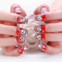 Wholesale Bride Nail Sticker - Hot Sale Wedding Nails 24Pcs Red Long Square Glitter Tips for Nail Art Transparent Style with Glue Sticker Bride Nail Art Tool