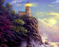 Wholesale Lighthouse Abstract - New diy diamond painting cross stitch kits resin pasted painting full square drill needlework Mosaic Home Decor Island Lighthouse zf0178