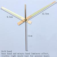 Wholesale aluminum clocks - 100sets Skp Shaft Luminous Gold Hands 98 #Metal Aluminum Material Clock Hands Quartz Clock Accessory High Quality Diy Clock Kits