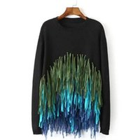 Wholesale Knitwear Sweater Ladies - Wholesale-Fashion Ladies Knitwear Black Tassel Pullovers for Women Pull Knitted Fringe Jumpers Tops Long Sleeve Sweaters