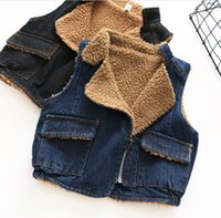 Wholesale Denim Waistcoat Girls - 2017 Baby Girls Denim Fleece Waistcoats Kids Girls Fashion Warm Outwear Girls Autumn Winter Jackets Baby Clothes