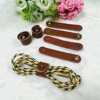 Wholesale Tie Leather Cord - Leather Reusable Cable Tie Wrap Cord Organizer Cable Winder for Earphone Cable Winder Chargers Tangle-Free Storage