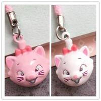 animales encantos de telefonía móvil al por mayor-Nuevo 50PCS Rosa / Blanco Lindo Neko Bell Mobile Cell Phone Charm Cartoon Lovely Marie Cat Head