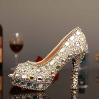 Wholesale Silver Beaded Peep Toe Heels - Peep Toe Silver Crystal Rhinestones Wedding Shoes Dimond Women Evening Party Prom Pageant High-Heeled Beaded Bridesmaid Bride Bridal Pumps
