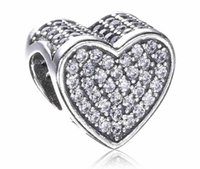 Wholesale Crystal Pave Beads For Pandora - 2017 Spring Mother Day Crystal Paved Heart Charm Fit For Pandora Bracelet DIY Bead Charm Sterling Silver Jewelry