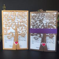 venda amor pássaros venda por atacado-Atacado-12pcs Hot Sale Royal Corte A Laser Chique Árvore Amor Pássaros Do Coração Convites De Casamento Cartões De Saudação De Natal Decoração Do Partido Cartões