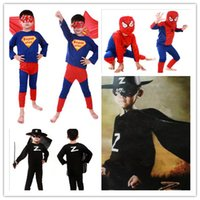 Wholesale Children S Christmas Gifts Cheap - Cheap Spiderman Batman Superman Children Party Cosplay Zorro Costumes Halloween Gift For Girls Boys Clothes Children's Set Clothing TA92