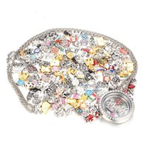 Wholesale Float Number - 50 Pcs lot Top Sale Mix Design Floating Charms for Glass Living Memory Locket Pendant DIY Floating Charms Lockets Jewelry Accessories