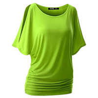 Wholesale Cut Off T Shirts - Wholesale- Spring Summer Womens O-neck T Shirt Short Sleeve Crewneck Cut Out Off Shoulder Top