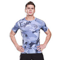 Wholesale Tight Fitting Clothing - Men's tight-fitting short-sleeved sports fitness running training camouflage uniforms dry stretch compression body sculpting T-shirt clothes