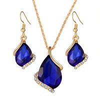 Wholesale jewelry earrings factory prices resale online - edding dinner luxury droplets Austrian crystals zircon earrings necklace jewelry set women girls gift jewelry factory price