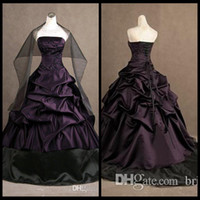 Wholesale Strapless Ruched Satin Ball Gown - Gothic Wedding Dresses Bridal Gowns Real Photos Gothic Wedding Dress 2017 New Design With Embroidery Custom Made