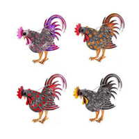 Wholesale Jewelry For Cock - Animal Rooster Brooch Pin For Women Rhinestone Enamel Animal Brooches Brooches Cock Jewelry Pins Cute Gift