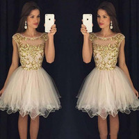 Wholesale Dress Embellishments - Homecoming Dresses 2016 Scoop Zipper Back Mini Prom Dresses Piping Tulle Ball Gown With Gold Embellishment Short Prom Party Gowns