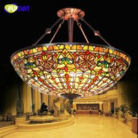 Wholesale Baroque Lamp - FUMAT European Style Baroque Restaurant Tiffany Classic Hotel Project Light Living Room Stained Glass Pendant Lamp