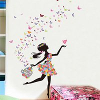 Atacado Multicolor Dancing Girl Flower Spirit Wall Decal Etiqueta Home Decor Vinyl Art