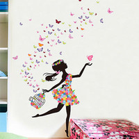Wholesale Wall Spirit Decals - Wholesale- Multicolor Dancing Girl Flower Spirit Wall Decal Sticker Home Decor Vinyl Art