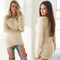 Wholesale Long Solid Color Warm Knit - Fashion Autumn Winter Women Clothes Soild Color O Neck Knitted Furry Tops Lady Long Sleeve Warm Blouse 7 Colors LX3968