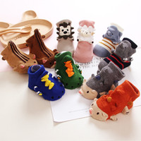 Wholesale Coral Baby Shoes - New Fashion Baby Floor Socks Winter Kids Skidproof Cotton Shoes Socks Coral Fleece Warm Footgear 3D Cartoon Bear Anti-slip Sole Sock A7924
