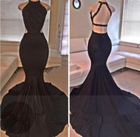 Wholesale Evening Dress Babyonline - Babyonline Sexy Black Mermaid Prom Sexy Open Back Lace Evening Dresses 2017 High Slit Formal Evening Party Gowns