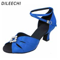 Wholesale TOP Sneakers DILEECHI Big diamond buckle Black Blue Red satin female Latin dance shoes women s Ballroom dancing shoes square dance shoes