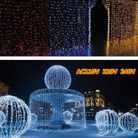 Wholesale Outdoor Christmas Decorations Uk - 2015 500 Led Curtain Light 10m*1.5m 110- 220v Christmas Xmas Outdoor String Fairy Lights Wedding Party Decoration Au Eu Us Uk Plug