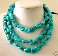 Wholesale Turkey Turquoise - Charming! 11x15mm Turkey Turquoise Necklace 50 inch AAA