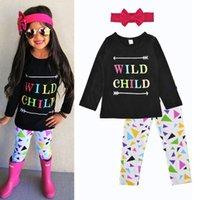 Wholesale Wholesale Childrens Cotton Tshirts - 2017 Girls Childrens Clothing Sets Long Sleeve Arrow tshirts Pants Headbands 3Pcs Set Fashion Girl Kids Cotton Boutique Enfant Clothes Suit
