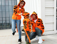 Wholesale Long Jacket Ears - Wholesale free shipping Tiger X Dragon Tiger Costume hoodie With Ears Tail monster Punk Jacket zipper open jacket