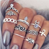 Wholesale knuckle rings for sale - Group buy Vintage Knuckle Ring Sets Antique Silver Gold Engraved Flowers Elephant Fingernail Ring Sets For Girls Ladies