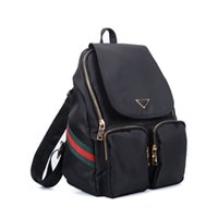 Backpack Style outdoor sports shops - 2017 Casual Sport Outdoor Packs Backpack Women Red Green Stripes Unisex Plain Zipper Light Nylon Canvas Fashion School Shopping Bag VK5277