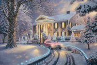 ölgemälde kunstdrucke leinwand großhandel-Graceland Weihnachten Thomas Kinkade Ölgemälde Kunst Wand Moderne HD Druck Auf Leinwand Dekoration Kein Rahmen