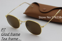 Wholesale Bright Aluminum - New high quality designer sunglasses men and women 100% aluminum frame glass lens round driving mirror HD bright color singing