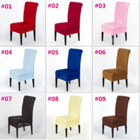 Wholesale Seat Covers Spandex Weddings - 20 Solid Colors Polyester Spandex Dining Chair Covers For Wedding Party Chair Cover Brown Dining Chair Seat Covers c175