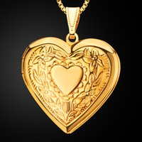 Wholesale Wholesale Men Valentine - Heart Necklace & Pendant Women Men Lovers's Jewelry Valentines Gift Wholesale Gold Color Romantic Fancy Photo Locket fashion Accessories new