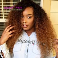 Ombre Brown # 2/33 Afro Kinky Curly Virgin Hair Lace Closure Front Wig Glueless Mélange 100% Virgin Human Hair Lace Closure Wigs