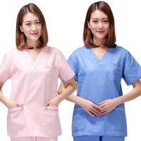 Wholesale Uniform Scrubs - Women Fashion Style Short Sleeves V-neck four colors Uniforms Scrub Sets (Tops and Pants) 10pcs lot drop shipping
