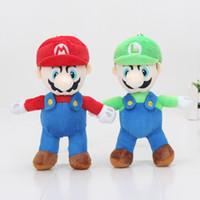 Wholesale Mario Key Rings - Wholesale 16cm Super Mario Bros Plush doll toys mario luigi key ring keychain pendant soft toys