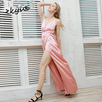 Wholesale Woman Elegant Pajamas - Slip satin backless sexy long dress Women pajamas summer dress evening Party elegant black maxi dresses vestidos