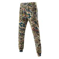 patrones de pantalones de lino al por mayor-Al por mayor-Pantalones de chándal de algodón y lino Hombres Fitness Hip Hop Ropa Pantalones de carga Joggers ocasionales slim fit Patrón impreso pantalones masculinos HK04