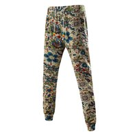 Wholesale Linen Drawstring Pants - Wholesale- Cotton and Linen Sweatpants Men Fitness Hip Hop Clothing Cargo Pants Casual Joggers slim fit Pattern Printed male trousers HK04