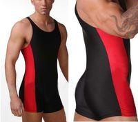 Wholesale swim full body - Men Full Body Leotards Swim Suit One piece Swimwear Athlete Suit Gym Man Wrestling Singlet