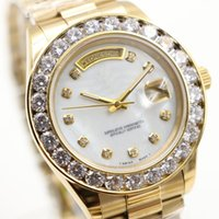 Wholesale Gold Diamond Bezel - AAA Sapphire Luxury Brand mens Watches Gold President Day-Date Big Diamonds Mother Pearl Dial Diamond Bezel Stainless Automatic mens watches