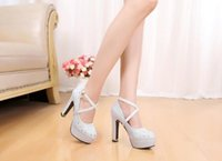 Wholesale High Host - Wedding shoes dress photos banquet hosted show long white bind thick with new high-heeled shoes women's shoes