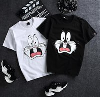 Wholesale Rabbit Tee Shirt - Palace Men Cotton Skateboard Middle finger car T-Shirts Printed Harajuku Character RIPNDIP T Shirt Short Sleeve Tee explosion of the rabbit