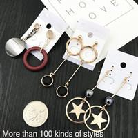Wholesale Trendy Wooden Jewelry - luxury jewelry tassel earrings Rhinestone dangle earring wooden gold metal earrings chandelier for women Cross planet ear rings