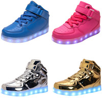 Wholesale Led Black Leather Band - LED Light Up Shoes, Running Shoes 2017 New Arrival Shoes USB charging Best Seller High Top Basket Fashion Sneakers Black   White   Red