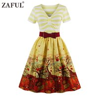 ZAFUL Brand 2017 Vintage V Neck print Женское платье Retro Robe Rockabilly Feminino Vestidos Hepburn 50s Tunic dresses Plus Размер